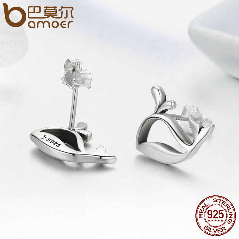 BAMOER 2018 New 100% 925 Sterling Silver Cute Whale Small Animal Stud Earrings for Women Fashion Sterling Silver Jewelry SCE248
