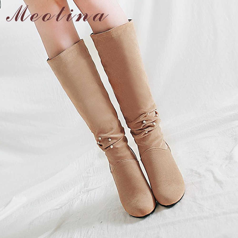 Meotina Kış Pilili Çizmeler Kadın Diz Yüksek Çizmeler Inci Kalın Topuklu Çizmeler Bayan Moda Uzun Ayakkabı Siyah Gri Kayısı 41 42