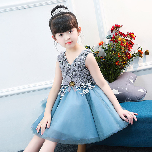 Flower Girl Dress Blue Tulle Kid Evening Dress Wedding Gown Tulle Teen Girl  Ceremonies Party Dress Children Summer Clothing b28f44e0be71
