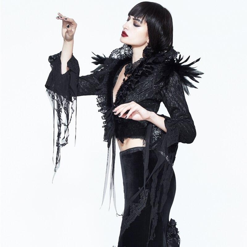 Dames Nouveau Gothique Et D'hiver Manteau Automne Plume Plis Stand Partie De Col Veste Dentelle Black D'épaule Cour Courte Noir qrrIxSwH