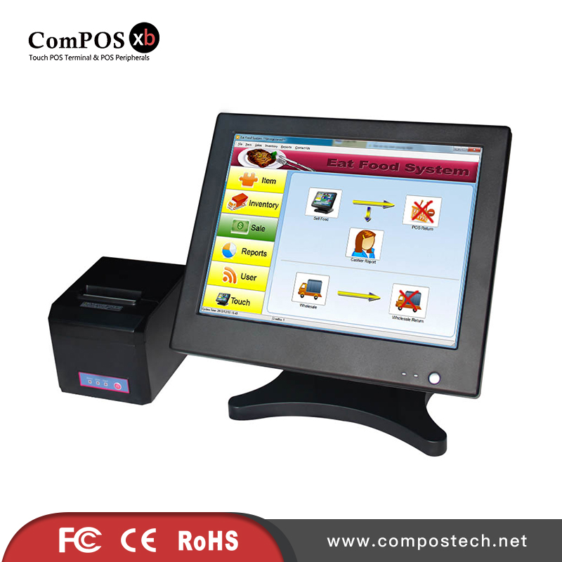 Super configuration butterfly 15 inch pos touch screen system i5 processor 8GB RAM and 128GB <font><b>HD</b></font> with printeter