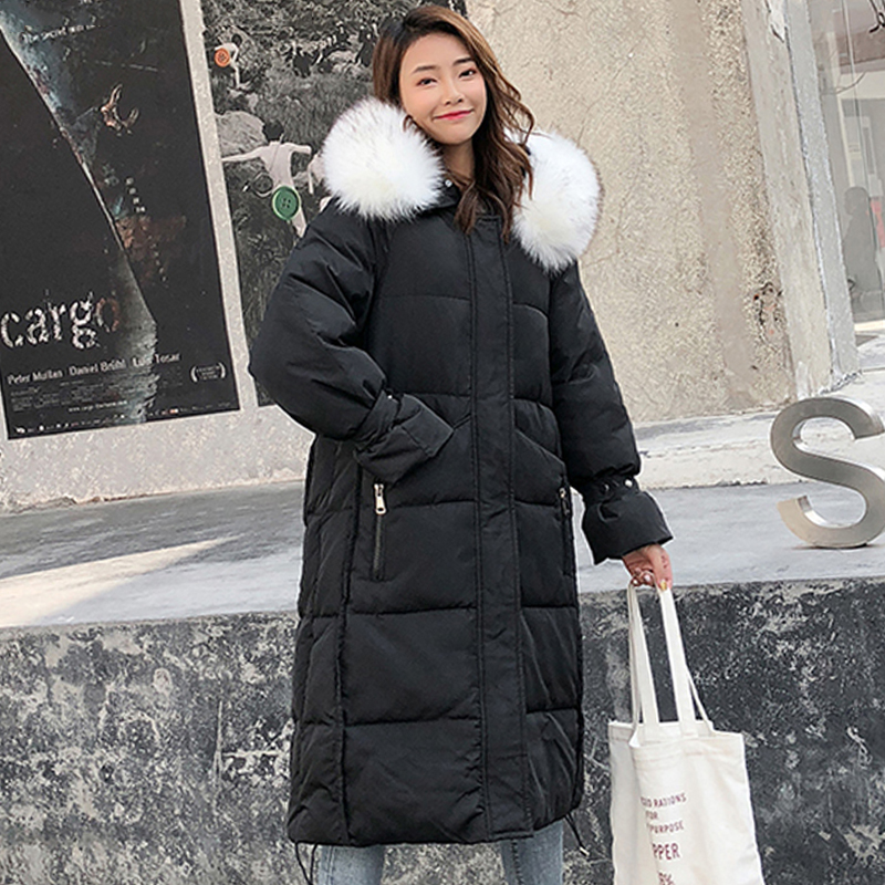 Korean Style 2019 Winter Jacket Women Hooded With Fur Collar Oversize Puffer Female   Down     Coat   Cotton Padded Warm Long Parka