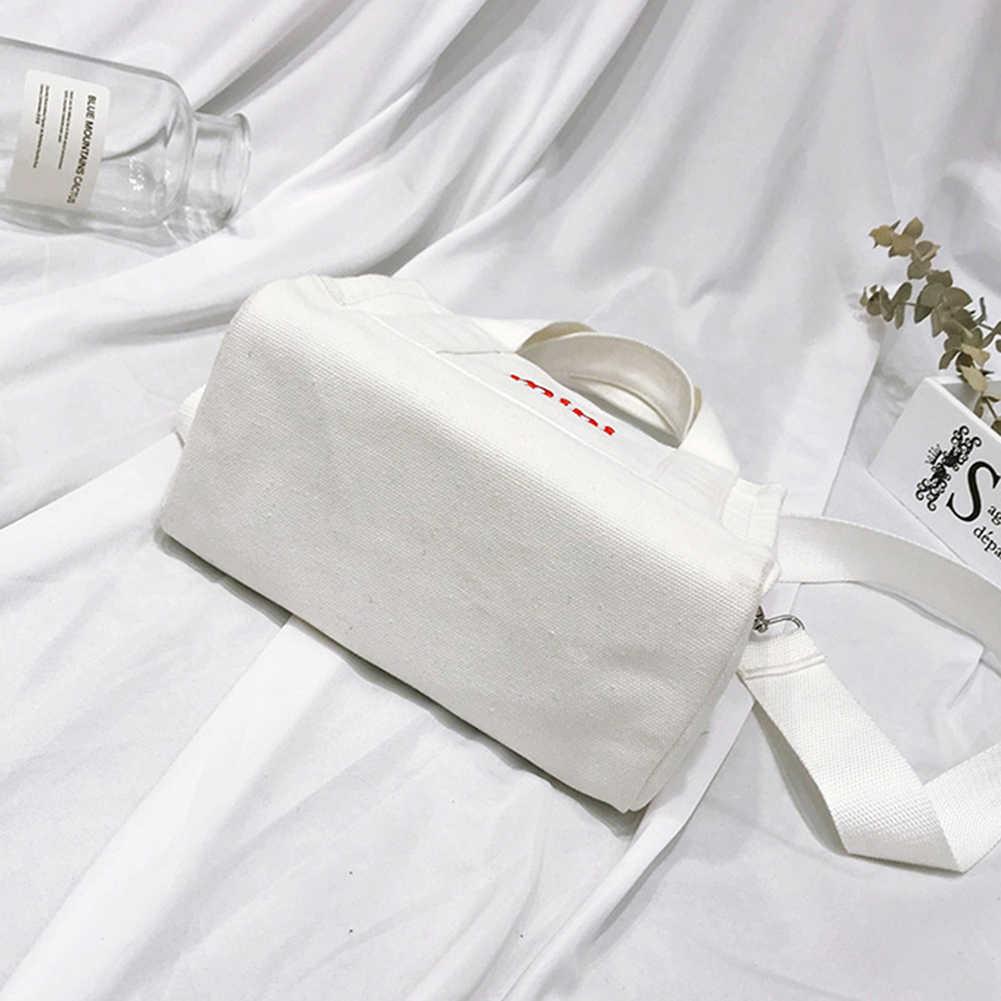 Simples mulher inglês carta mini lona bolsa crossbody mensageiro ombro pequeno material lona