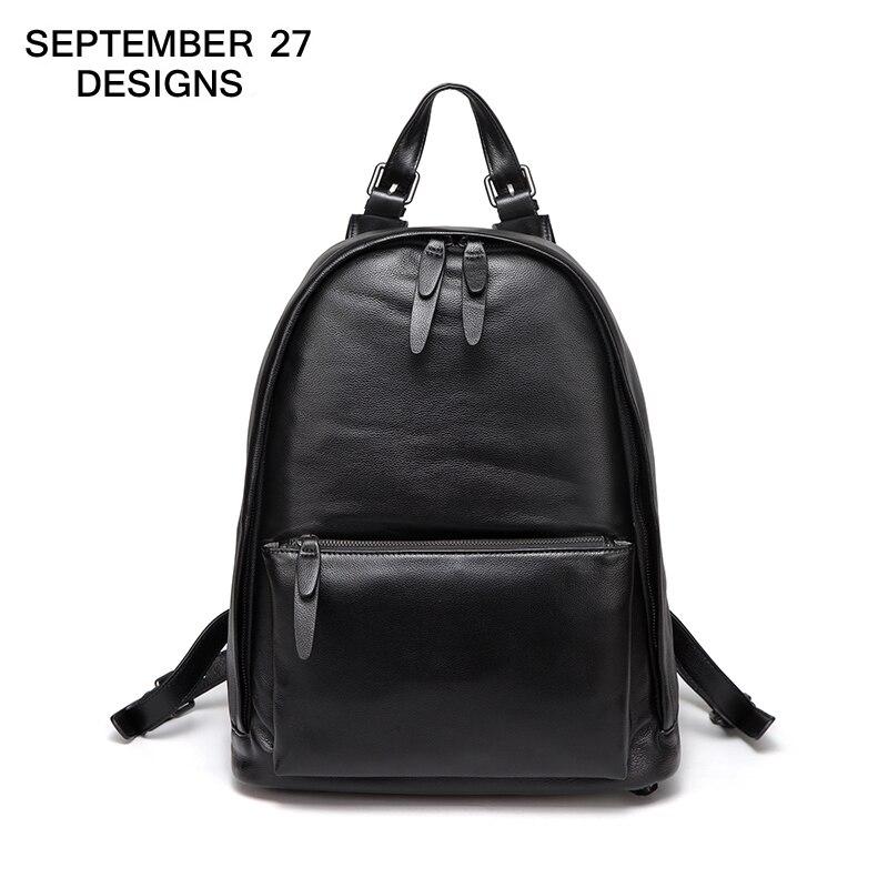Здесь можно купить  Men Backpack 100% Real Cow Leather High Quality Large Capacity Youth Travel Bag Black Casual Boys School Bags Teenager Rucksack  Камера и Сумки