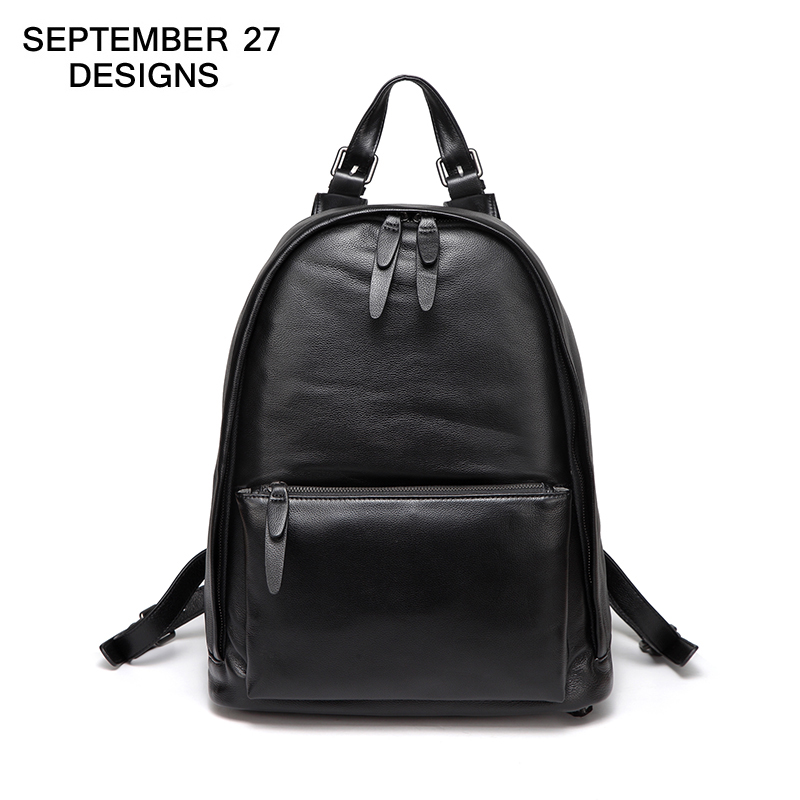 Men Backpack 100% Real Cow Leather High Quality Large Capacity Youth Travel Bag Black Casual Boys School Bags Teenager Rucksack