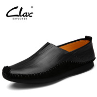 Clax Leather Shoes Men Casual Flat Footwear 2017 Spring Summer Black Brown Loafers Slip On Classical