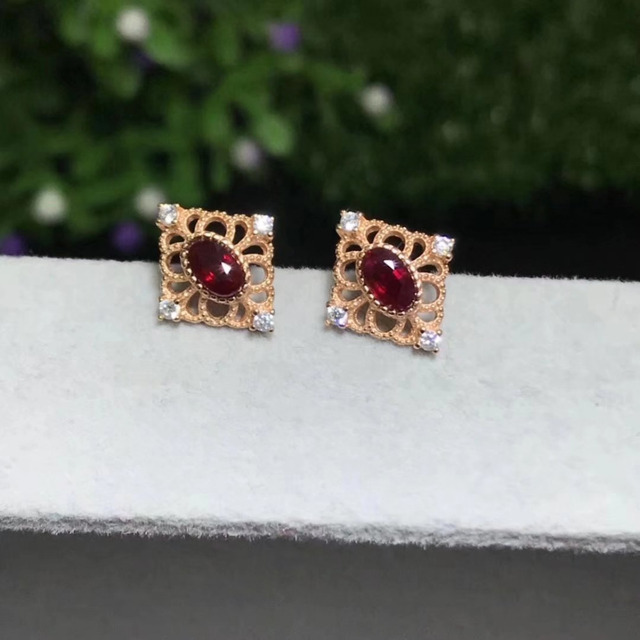 Fidelity natural 3 5mm ruby stud earrings s925 silver diamond hollow fine jewelry for women wedding.jpeg 640x640 - Fidelity natural 3*5mm ruby stud earrings s925 silver diamond hollow fine jewelry for women wedding Natural red gemstone