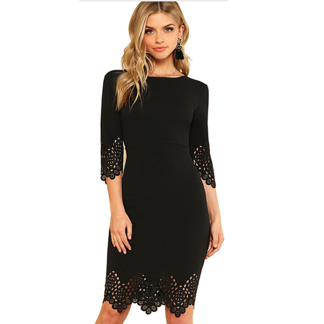 98e97369ae10 Free shipping Black Pencil Dress Women Half Sleeve Zip Back Hollow Out  Bodycon Midi Dress 2018 Summer Ladies Elegant Party Dress