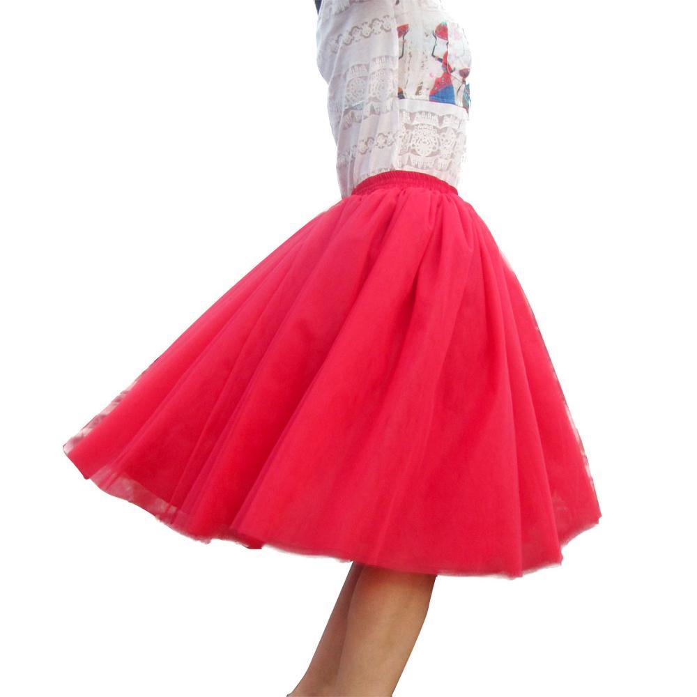 149f606c3dda9 € 17.69 35% de réduction|Tutu Tulle jupe femmes filles princesse moelleux  plissé Tulle jupes robe de bal Empire Rokken sur mesure 7 couches ...