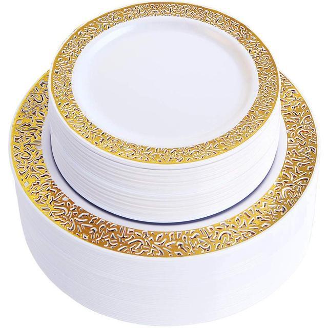 Gold Disposable Plastic Plates  Lace Design Wedding Party Plastic Plates,Gold Lace Plates Salad/Dessert Plates 25pack