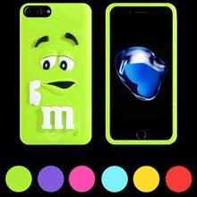 3D Bonito Dos Desenhos Animados M & M Moda Colorful Rainbow Case Shell Pele Capa de Silicone Macio para iphone 5 5s se 6 6 s 7 plus ipod touch 4 5