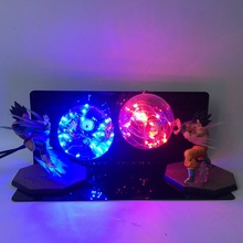 Dragon Ball Z Son Goku Vs Vegeta Super Saiyan LED Light Toy Dragon Ball Lamp Pvc Figure Jouet Display Model Toys Children Gift