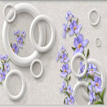 Custom 3D murals warm fashion purple flowers circle background wall decoration painting wallpaper mural photo