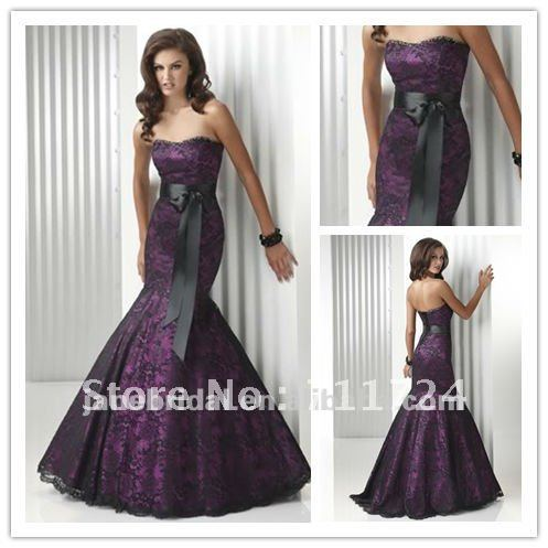 Plum satin with black lace and black belt wedding dress-in Wedding ...