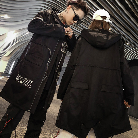 Aelfric Eden Gothic Long Trench Coat Men 2018 Hip Hop Hooded Windbreaker Jackets Fashion Black Streetwear Swag Overcoats KJ39 Islamabad