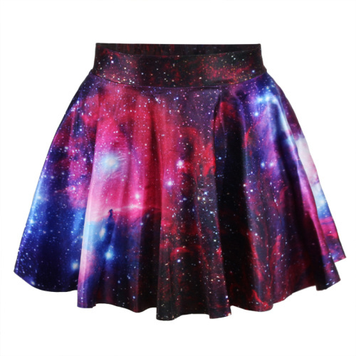 Hot Style Women Skirt 3D Space Printed Cute Skirt New 2017 womens pleated skirts for drop shipping