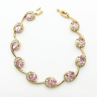 Top Design Pink White Bracelets Gold color Jewelry For Women Christmas Gift Free shipping
