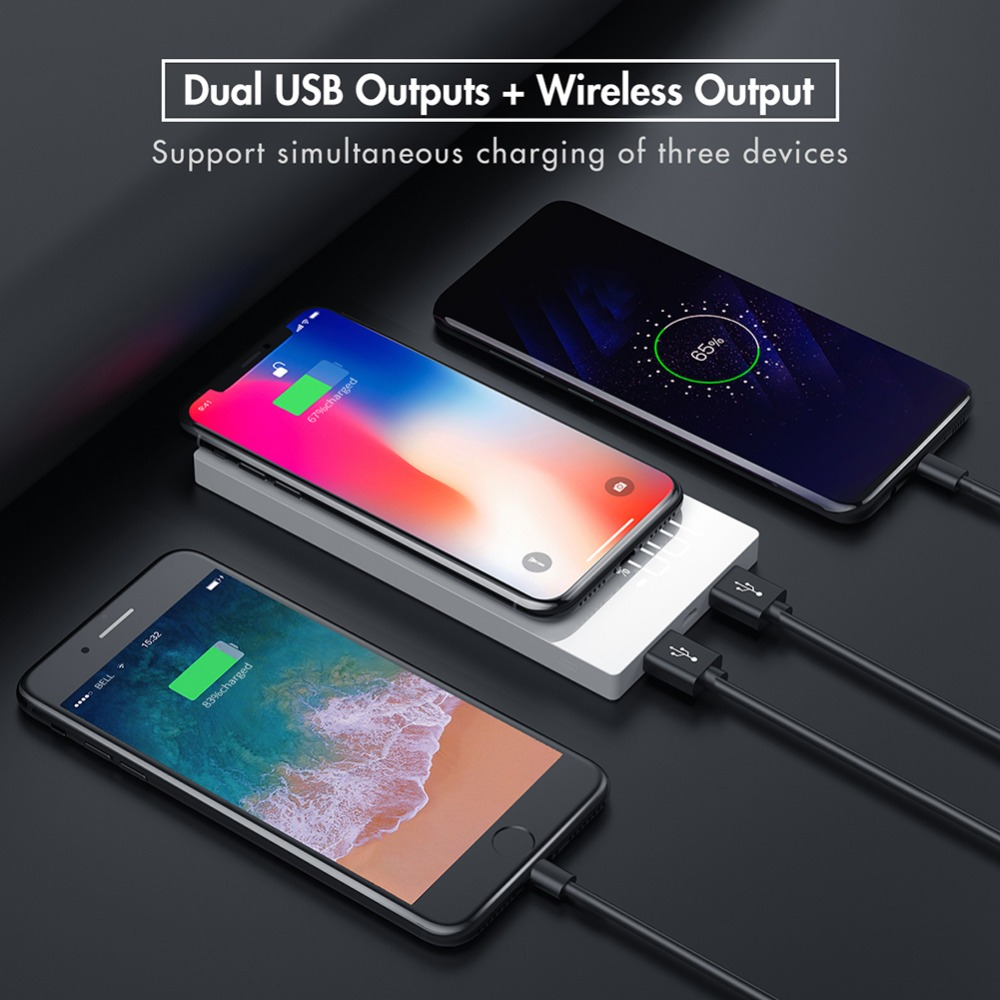 Qi Wireless Charger Power Bank 20000mAh Portable Dual USB Phone Charger External Battery Pack for Xiaomi iPhone Huawei Poverbank in Power Bank from Cellphones Telecommunications