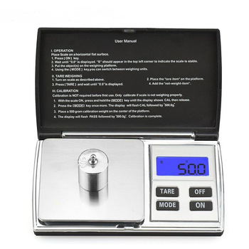 500g/0.1g Electronic Weight Scale Mini Diamond Pocket Jewelry Scale blue backlight LCD display