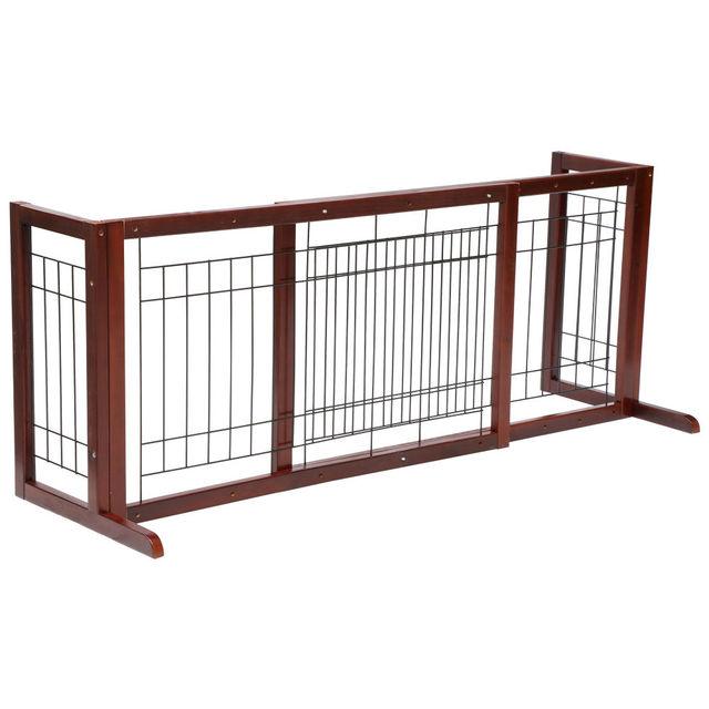 Pet Fence Gate Free Standing Adjustable Dog Gate Indoor Solid Wood
