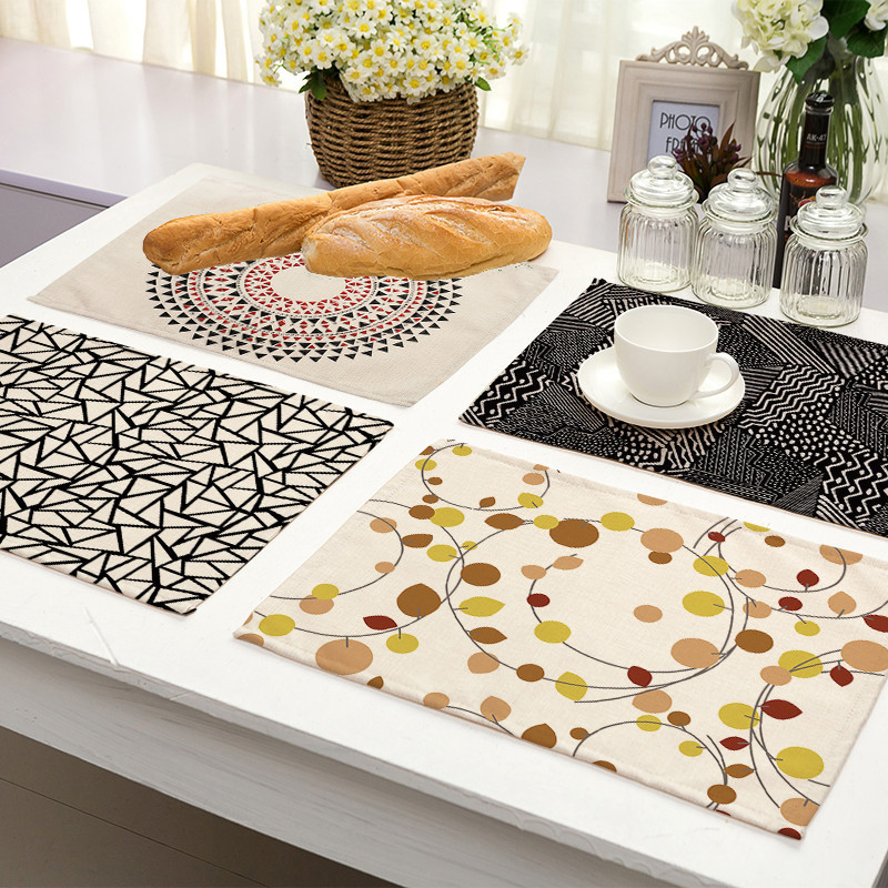 Beautiful Geometric Print Placemat Linen Dining Table Mat