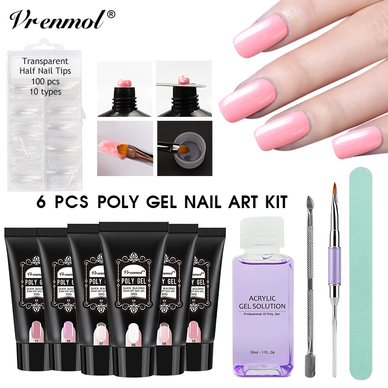 Vrenmol 11pcs Polygel Nail Art Sets Transparent Builder