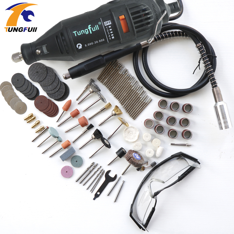 Tungfull Dremel Style MultiPro Drill Carving Pen Soft Shaft Accessories 75pcs Polishing Top 30pcs Burs-level Kits Factory price