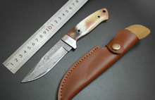 horn handle Damascus steel  blade Outdoor Camping knife Portable Survival Hunting knives with leather sheath knives fixed blade