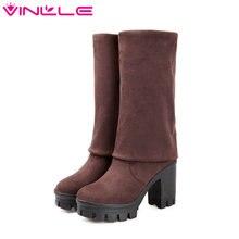 VINLLE/Женские ботинки нубук платформы коренастый пятки Демисезонный Ботинки квадратный каблук Для женщин Ботинки пикантные Сапоги выше колена Ботинки