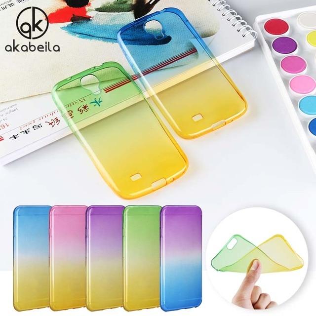 AKABEILA Gradient Color Cover Case For Samsung Galaxy S4 SIV Mini I9500 I9190 SCH-I545 I9195 Ultra Thin Slim Silicone Cover