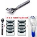 10 in1 Men Shaving Set 1 Razor Holder + 8 pcs Blue 3 Razor Blades + 1 Case Cassette Trimmer Men Safety Razor Set Shaver Blades