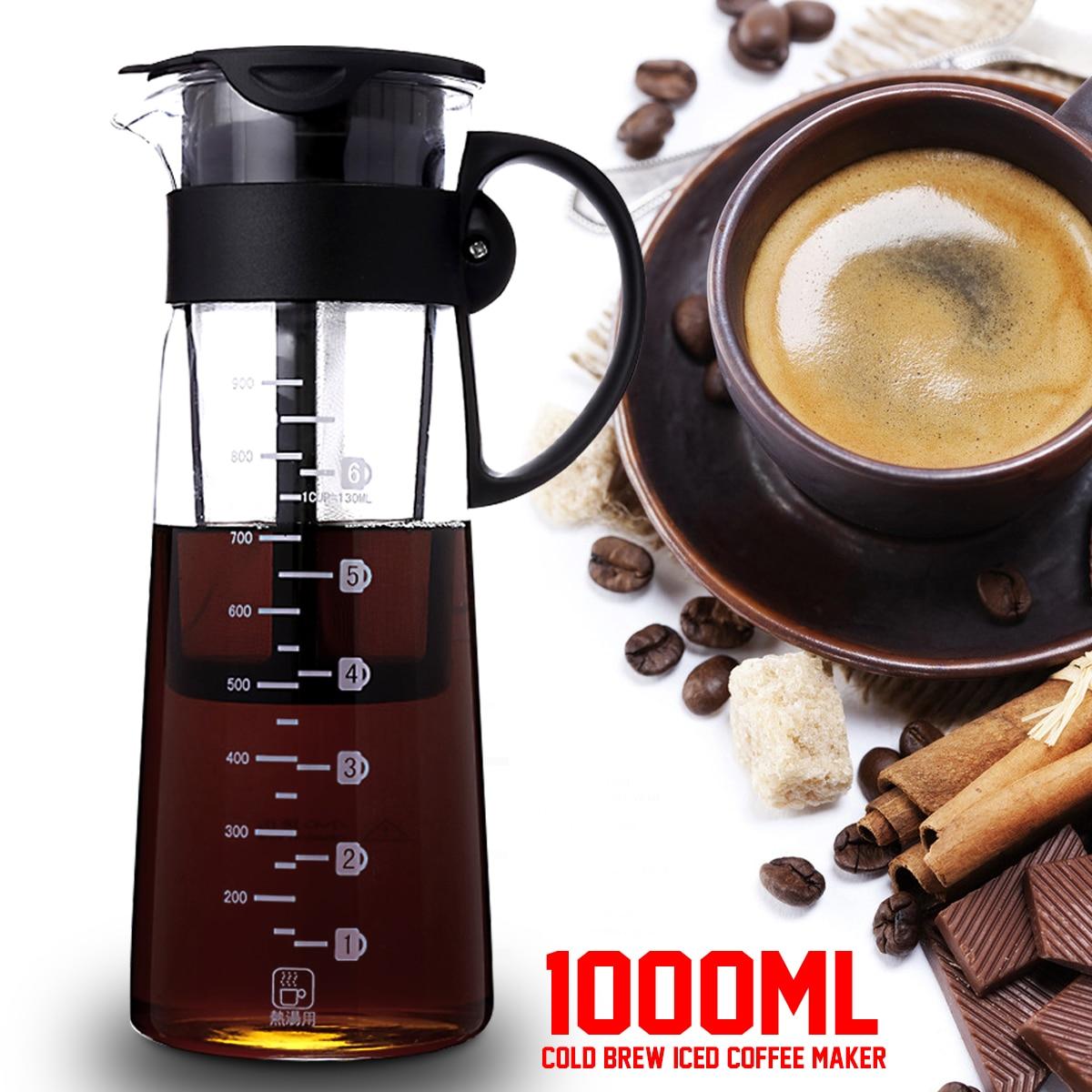 1000 мл холодной варить, Кофе Maker герметичное уплотнение Чай чайник W/фильтр и ручка съемная тепло- нескользящие Стекло многоразовые Filte