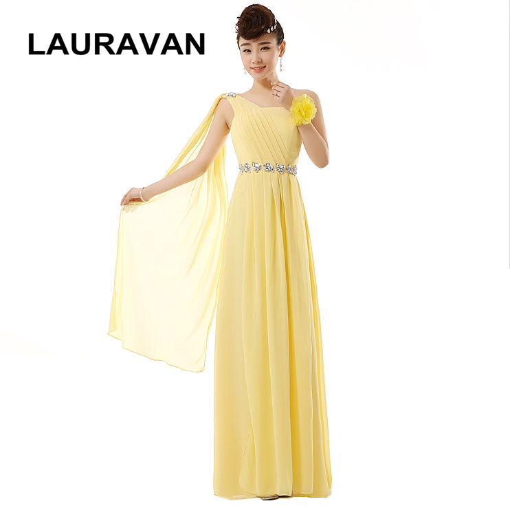 Girl One Shoulder Yellow Red Champagne Bridesmaid Dresses