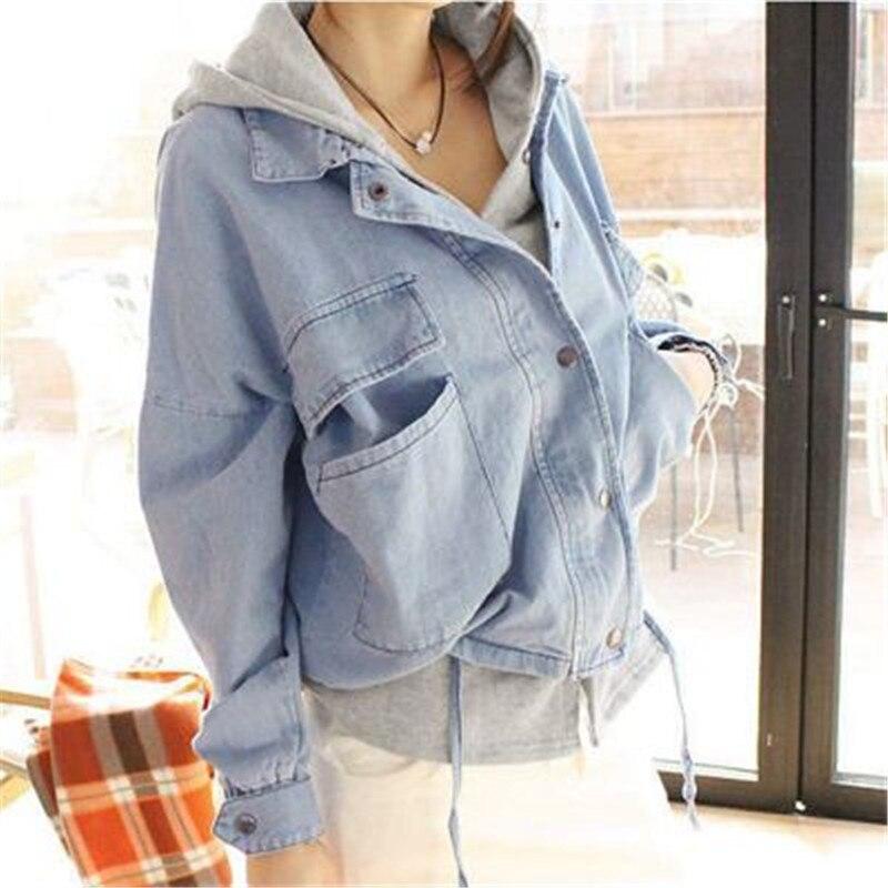 Femmes Plus Vestes Hiver Pièces À Taille Feminina Denim Jeans Blue Zy766 Capuchon Jaqueta Deux Automne Survêtement Dark Blue light La Printemps Manteau jALq54R3
