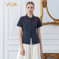 VOA Traditional Chinese Clothing For Women China Top Silk Blouse Official Store Ethnic Chinois Ladies Clothes Shirt Retro ZA1875