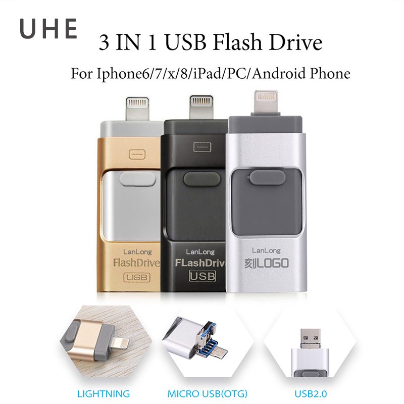 New Design Pendrive USB2.0 Flash Drive 8GB 16GB 32GB 64GB 3Ports In 1 Memory Stick For Iphone/Ipad/Android OTG/PC Pen Drive Disk|USB Flash Drives| |  - title=