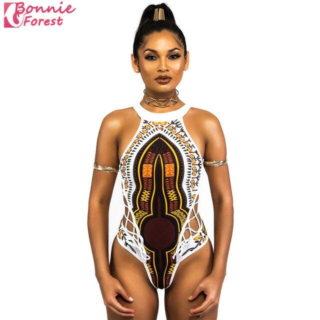 bonnie bos afrikaanse stam print vrouwen badpak monokni sexy hollow