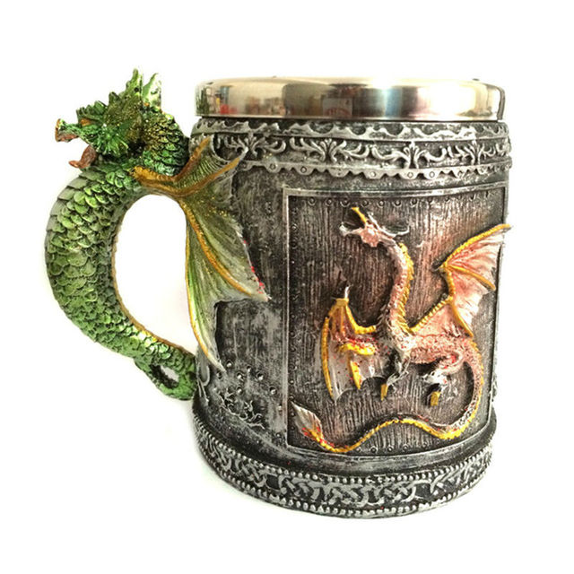 Double Wall Stainless Steel 3D Skull Mugs Fly Dragon Drinking Mug Cup Home Office Table Decor Geek Coffee Cup Christmas Gift 2