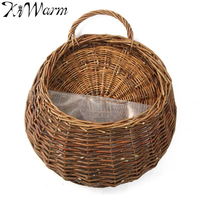 Rattan Flower Baskets : Kiwarm rattan flower baskets wall decor hanging pot