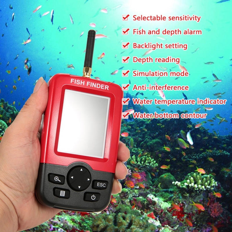 Offre spéciale Alarme 100 M Portable Sonar LCD Sans Fil Fish Finder leurre De Pêche Sondeur De Pêche Finder sondeur Anglais - 2