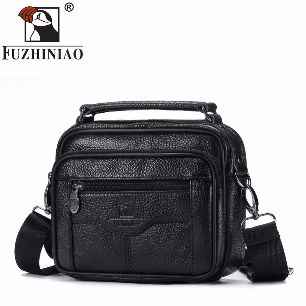 FUZHINIAO Fashion Business Soft Genuine Cow Leather Real Men Messenger Bag Trip Small Crossbody Shoulder Bag Male Handbag Zipper ...