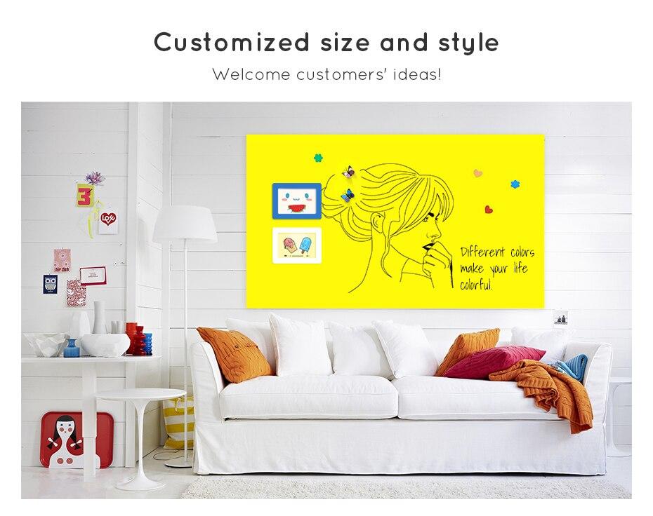 930_04 DIY Whiteboard Writing Board Dry Wipe Ferrous Whiteboard Message Yellow Board 120 x 80 cm x 0.6 mm