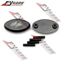 Бесплатная Доставка Зеркала Опорные Плиты Черный блокировать зеркало заднего вида отверстия Для Kawasaki Ninja 636 ZX6R ZX6RR 05-08 ZX10R 04-07