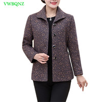Spring Autumn Plus Size Women Jacket Coat printing Fashion Slim Long Sleeved Outwear Casual Elegant Mother Tops Overcoat 4XL 548