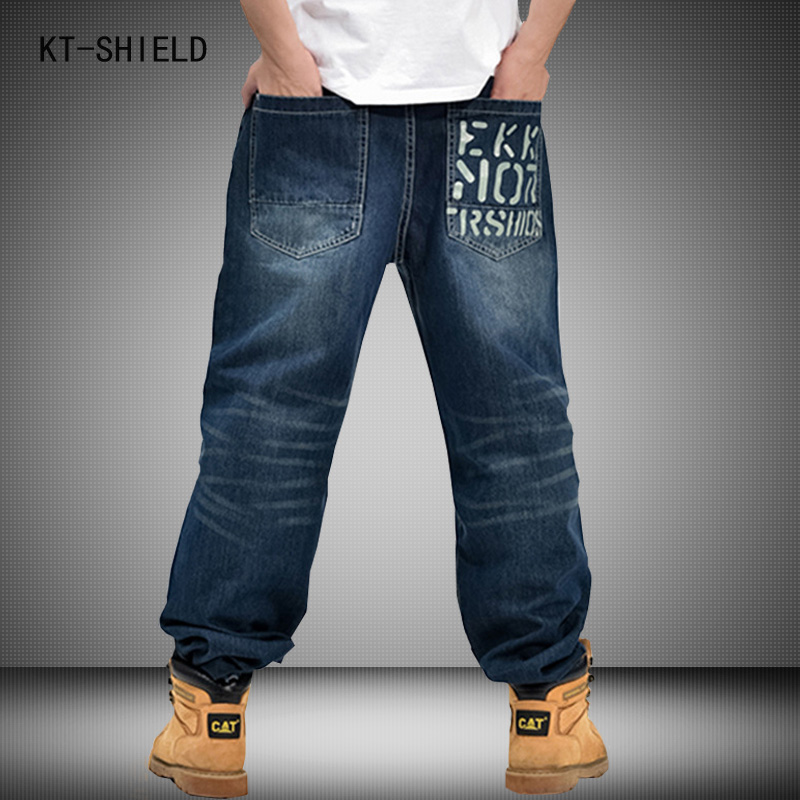 New Trend Trousers Man Hiphop Skateboarders Denim Pants Autumn Winter Loose Fertilizer increased Plus Size hip