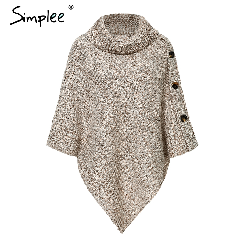 Turtleneck Knitted Casual Cloak Pullover 1