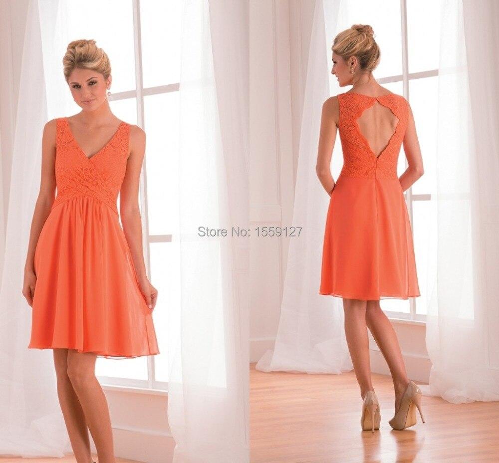 Energética Y Juvenil Vestido De Dama Naranja Vestidos De