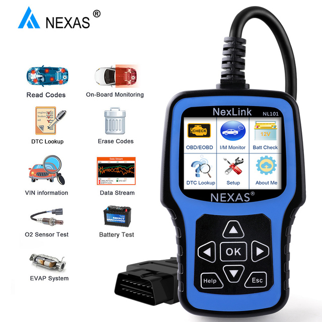NEXAS NL101 OBD2 Automotive Scanner OBD OBD2 Fault Code Reader Live Data Engine EVAP PK CR3001 ELM327 EOBD OBDII Diagnostic Tool