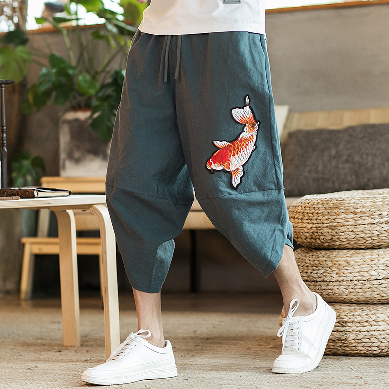 Harajuku Chinese Style Mens 2020 New Beach Pants Male Summer Casual Calf-Length Pants Man Carp Embroidery Baggy Loose Trousers