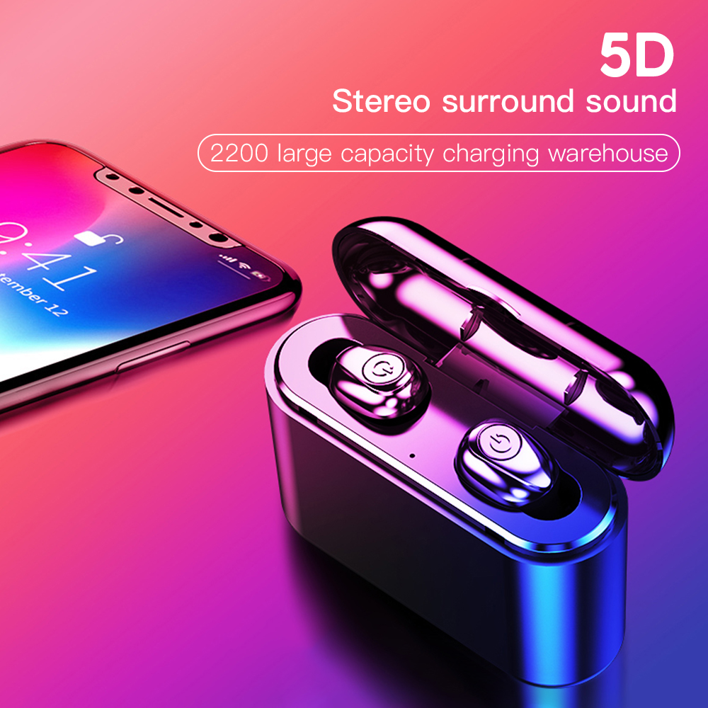 <font><b>X8</b></font> <font><b>TWS</b></font> Mini True Wireless Headfree Earbuds <font><b>5D</b></font> Stereo Bluetooth Earphones CVC Noise Reduction Headphone with 2200mAh Power Bank image
